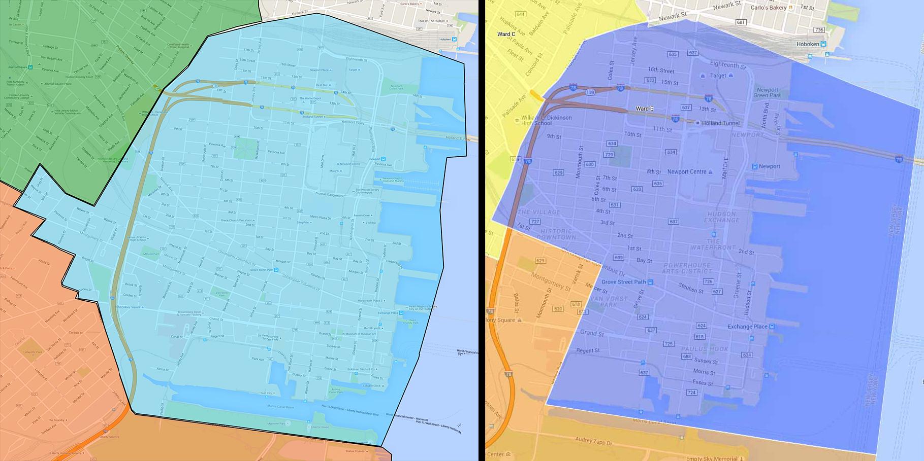 Ward E - Downtown Jersey City - 2009 (L), 2012 (R)